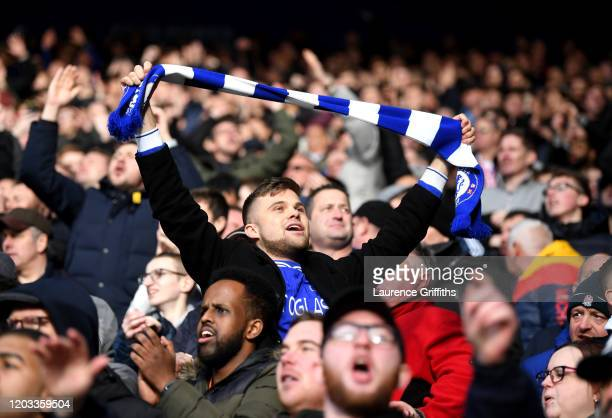 Chelsea fan reacts during the Premier League match between Leicester City and Chelsea FC at The King Power Stadium on February 01, 2020 in Leicester,...