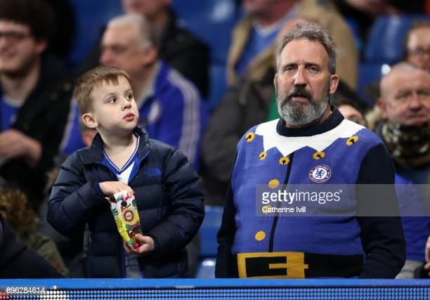 Chelsea fan wearing a Christmas jumper during the Carabao Cup QuarterFinal match between Chelsea and AFC Bournemouth at Stamford Bridge on December...
