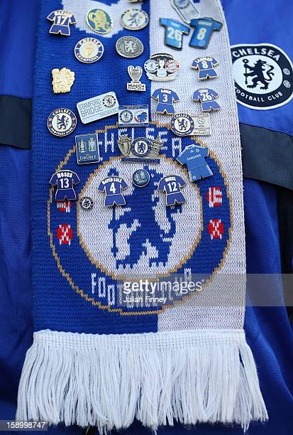 Chelsea fan with badges is seen during the FA Cup Third Round match between Southampton and Chelsea at St Mary's Stadium on January 5 2013 in...