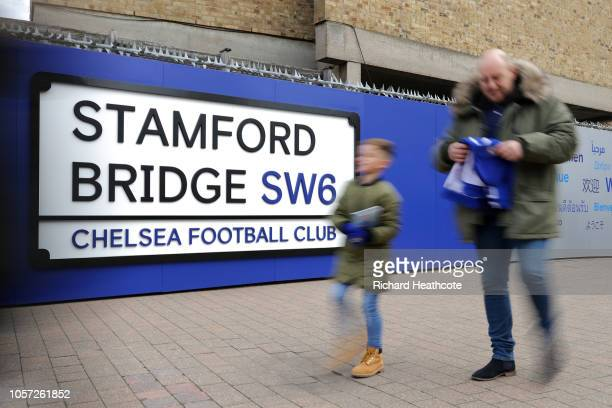 Chelsea fans arrive at the stadium prior to the Premier League match between Chelsea FC and Crystal Palace at Stamford Bridge on November 4 2018 in...