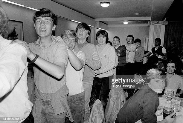 Chelsea fans celebrate at the Manchester Piccadilly Hotel after beating Manchester City