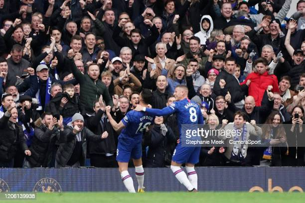Chelsea fans celebrate Olivier Girouds goal during the Premier League match between Chelsea FC and Everton FC at Stamford Bridge on March 8 2020 in...