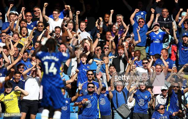 Chelsea fans celebrate Trevoh Chalobah of Chelsea goal during the Premier League match between Chelsea and Crystal Palace at Stamford Bridge on...