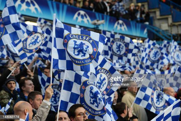 Chelsea fans cheer on their team during the UEFA Champions League Semi Final first leg match between Chelsea and Barcelona at Stamford Bridge on...