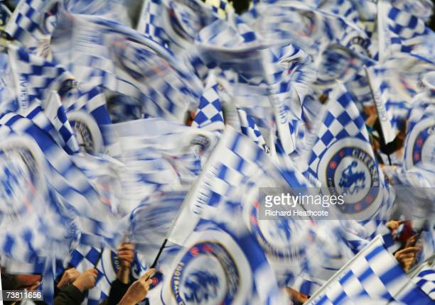 Chelsea fans cheer on their team prior to kickoff during the UEFA Champions League quarter final first leg match between Chelsea and Valencia at...