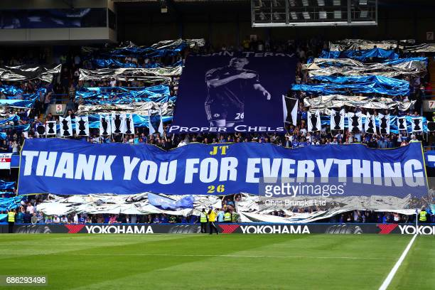 Chelsea fans display a John Terry banner during the Premier League match between Chelsea and Sunderland at Stamford Bridge on May 21 2017 in London...