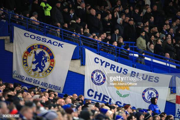 Chelsea fans display giant banners during the Emirates FA Cup Third Round Replay match between Chelsea and Norwich City at Stamford Bridge on January...