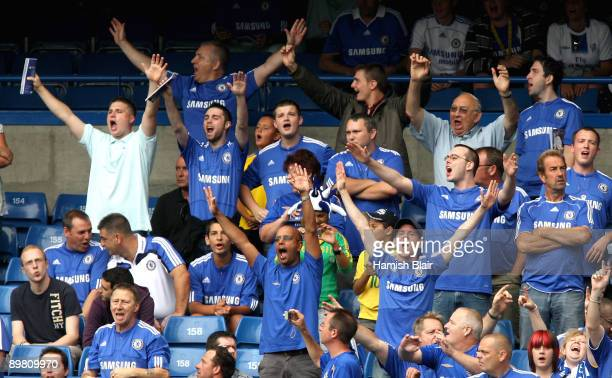 Chelsea fans during the Barclays Premier League match between Chelsea and Hull City at Stamford Bridge on August 15 2009 in London England