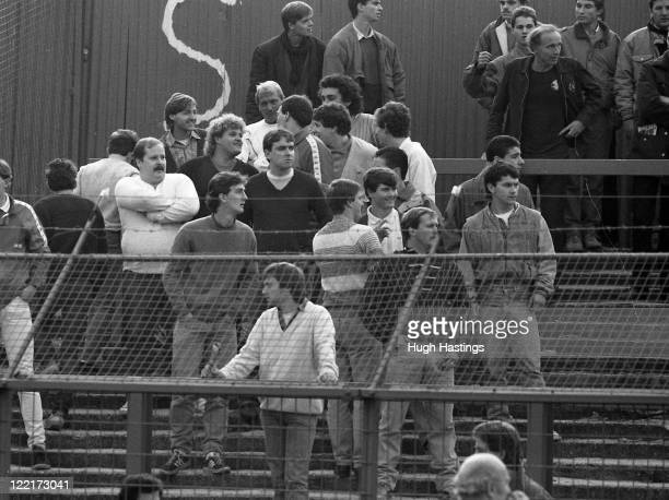 Chelsea Fans during the First Division match between Chelsea and Manchester United at Stamford Bridge on October 26 1985 in LondonEngland Manchester...