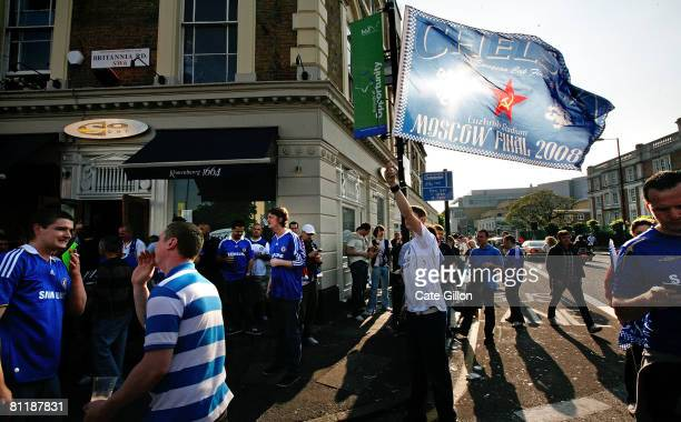 Chelsea fans gather to watch the UEFA Champions League Final between Manchester United FC and Chelsea FC in the 'So Bar' in Chelsea on May 21 2008 in...