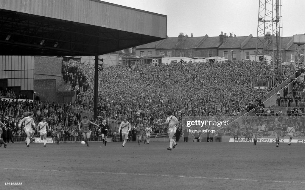 Chelsea fans in the away end of the stadium during the Division 2 match between Crystal Palace and Chelsea at Selhurst Park on April 12,1982 in London,England. Chelsea won the match 1-0.