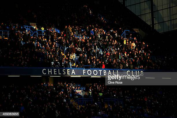 Chelsea fans in the East stand during the Barclays Premier League match between Chelsea and Swansea City at Stamford Bridge on December 26 2013 in...