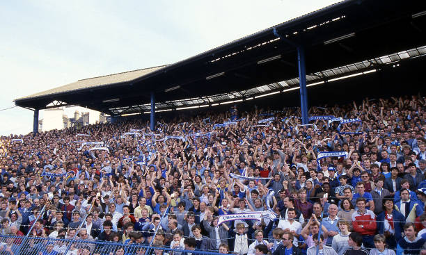 Chelsea fans in the Shed end during the Canon League Division Two match between Chelsea and Leeds United held on April 28, 1984 at Stamford Bridge,...