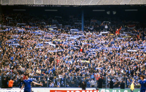 Chelsea fans in the Shed End during the Football League Division 2 match between Chelsea and Oldham Athletic held on May 3, 1980 at Stamford Bridge,...