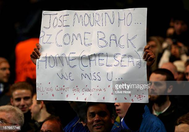 Chelsea fans protest at the appointment of Rafael Benitez as Chelsea manager during the UEFA Champions League group E match between Chelsea and FC...