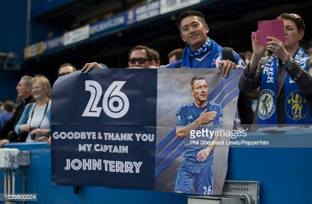 Chelsea fans show their appreciation for captain John Terry during the Premier League match between Chelsea and Sunderland at Stamford Bridge on May...