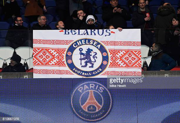 Chelsea fans show their support prior to the UEFA Champions League round of 16 first leg match between Paris SaintGermain and Chelsea at Parc des...