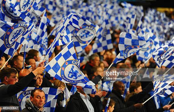 Chelsea fans wave flags during the UEFA Champions League Quarter Final second leg match between Chelsea and Paris SaintGermain FC at Stamford Bridge...