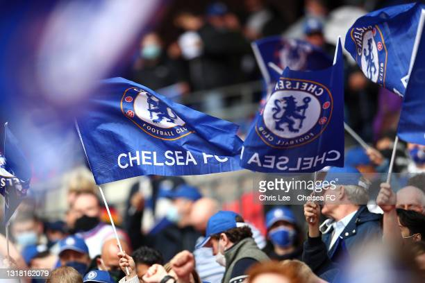 Chelsea fans wave flags prior to The Emirates FA Cup Final match between Chelsea and Leicester City at Wembley Stadium on May 15, 2021 in London,...