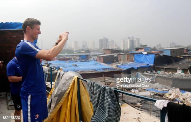Chelsea FC Ambassador Tore Andre Flo at Dharavi Slums in Mumbai on October 17 2017 in Mumbai India