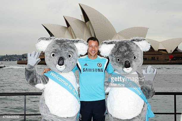 Chelsea FC captain John Terry poses with Koala mascots during a photo opportunity after a press conference at the Park Hyatt Hotel on May 31 2015 in...