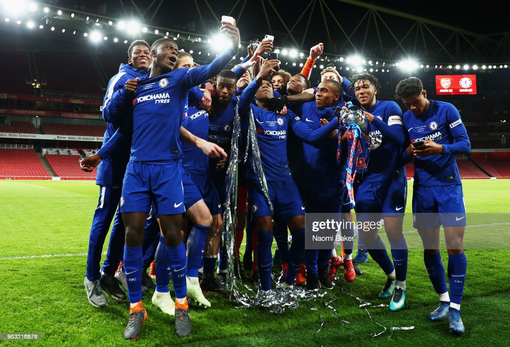 Chelsea FC celebrate after winning the FA Youth Cup Final, second leg match between Arsenal and Chelsea at Emirates Stadium on April 30, 2018 in London, England.