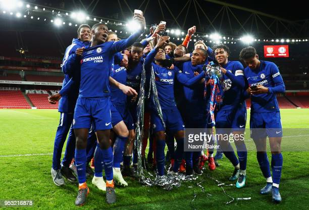 Chelsea FC celebrate after winning the FA Youth Cup Final second leg match between Arsenal and Chelsea at Emirates Stadium on April 30 2018 in London...