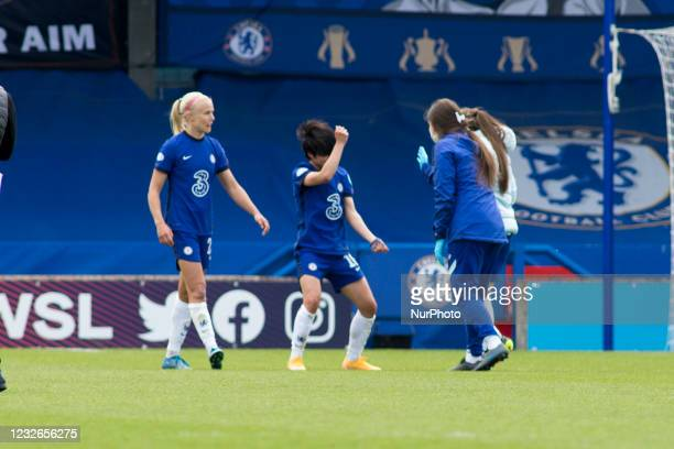 Chelsea FC celebrates after win during the 2020-21 UEFA Womens Champions League fixture between Chelsea FC and Bayern Munich at Kingsmeadow.
