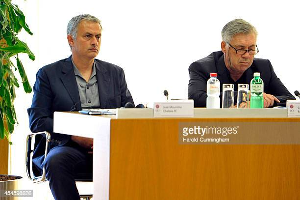 Chelsea FC Coach Jose Mourinho and Real Madrid Coach Carlo Ancelotti attend the UEFA Elite Club Coaches Forum at the UEFA headquarters The House of...