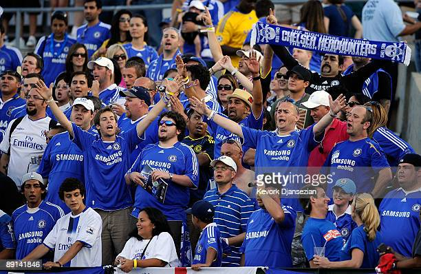 Chelsea FC fans chant in support of their team during warm up prior to the World Football Challenge between Chelsea FC and Inter Milan at the Rose...