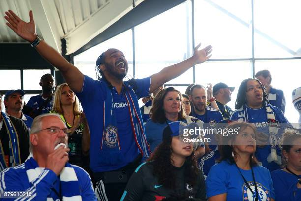 Chelsea FC fans watch the Liverpool v Chelsea match during Chelsea FC Trophy Tour In New York City at South Street Seaport on November 25 2017 in New...