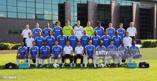 Chelsea FC first team squad pose during the Chelsea FC photocall at the Cobham training ground on September 15 2011 in Cobham England