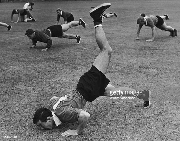 Chelsea FC footballer Jimmy Greaves in training at the Wimbledon Park Athletic Club in Ewell Surrey 6th August 1959