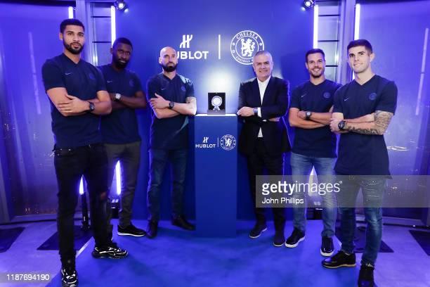 Chelsea FC footballers Ruben Loftus-Cheek, Antonio Rudiger, Willy Caballero, Hublot CEO Ricardo Guadalupe, Chelsea FC footballers Cesar Azpilicueta...