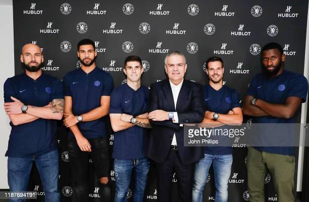 Chelsea FC footballers Willy Caballero Ruben LoftusCheek Christian Pulisic Hublot CEO Ricardo Guadalupe Chelsea FC footballers Cesar Azpilicueta and...