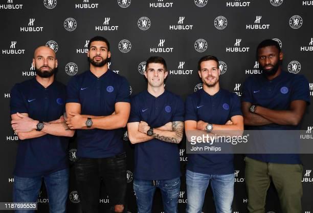 Chelsea FC footballers Willy Caballero Ruben LoftusCheek Christian Pulisic Cesar Azpilicueta and Antonio Rudiger celebrate their Hublot partnership...