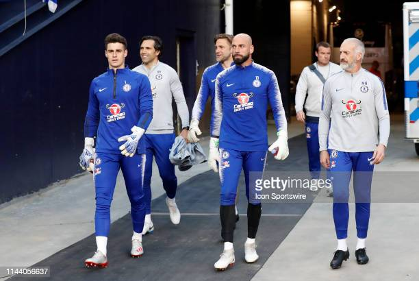 Chelsea FC goalkeeper Kepa Arrizabalaga Chelsea FC goalkeeper Robert Green and Chelsea FC goalkeeper Willy Caballero head out for warm up before the...