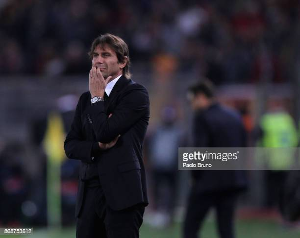 Chelsea FC head coach Antonio Conte reacts during the UEFA Champions League group C match between AS Roma and Chelsea FC at Stadio Olimpico on...