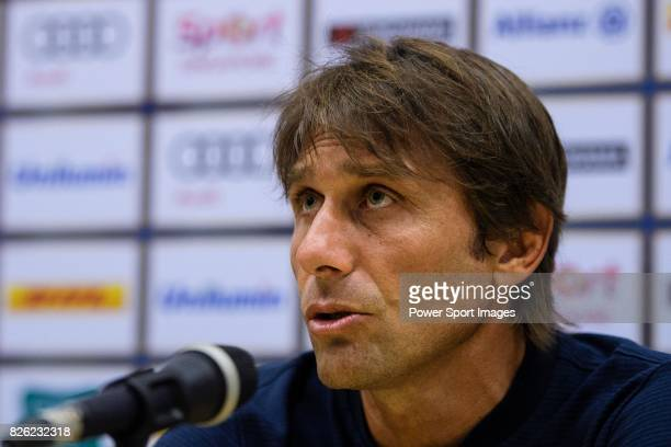 Chelsea FC Head Coach Antonio Conte speaks at the press conference after the International Champions Cup 2017 match between FC Internazionale and...