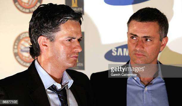 Chelsea FC manager Jose Mourinho launches his new waxwork and interactive exhibit at Madame Tussauds on December 8 2005 in London England The first...