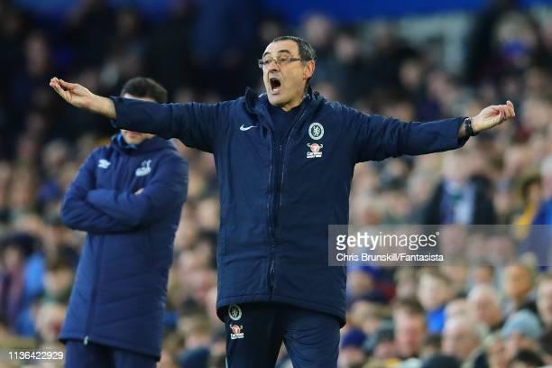 Chelsea FC manager Maurizio Sarri reacts during the Premier League match between Everton FC and Chelsea FC at Goodison Park on March 17 2019 in...