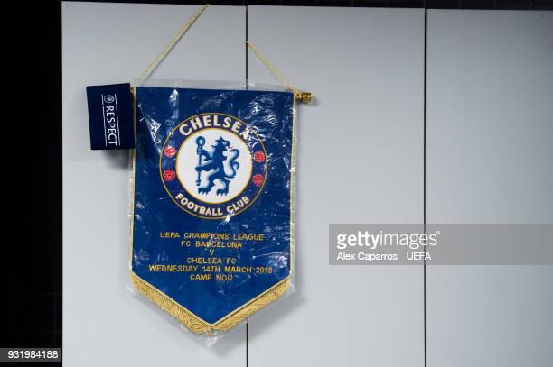 Chelsea FC match pennant hangs in the dressing room before the UEFA Champions League Round of 16 Second Leg match between FC Barcelona and Chelsea FC...