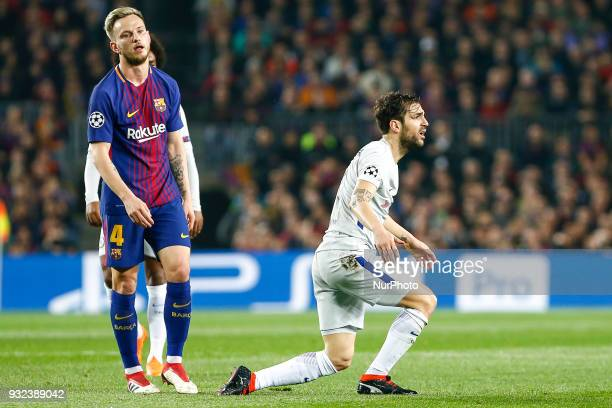 Chelsea FC midfielder Cesc Fabregas and FC Barcelona midfielder Ivan Rakitic during UEFA Champions League match between FC Barcelona and Chelsea FC...