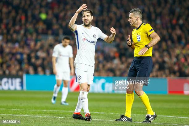 Chelsea FC midfielder Cesc Fabregas during UEFA Champions League match between FC Barcelona and Chelsea FC at Camp Nou Stadium corresponding of Round...
