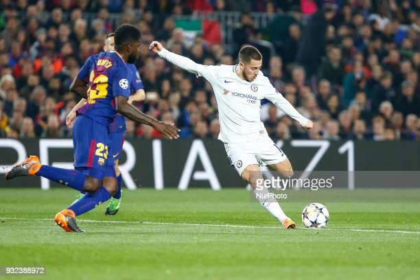 Chelsea FC midfielder Eden Hazard and FC Barcelona defender Samuel Umtiti during UEFA Champions League match between FC Barcelona and Chelsea FC at...