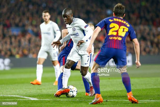 Chelsea FC midfielder Ngolo Kante during UEFA Champions League match between FC Barcelona and Chelsea FC at Camp Nou Stadium corresponding of Round...