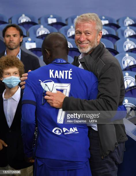 Chelsea FC owner, Roman Abramovich celebrates with N'Golo Kante of Chelsea after winning the UEFA Champions League Final between Manchester City and...