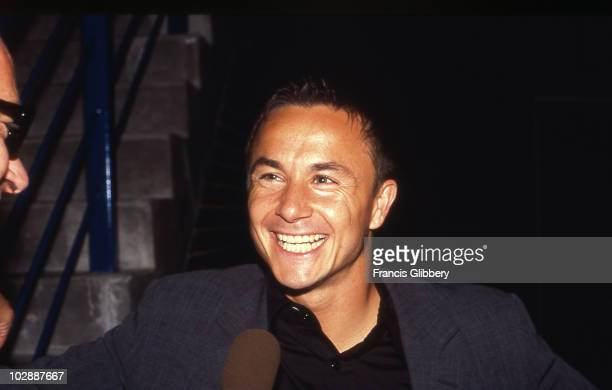 Chelsea FC player Dennis Wise enjoys a joke during the 1996/97 season at Stamford Bridge in London England