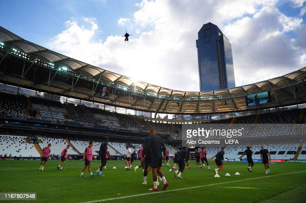 Chelsea FC players are seen during a training session ahead of UEFA Super Cup Final between Liverpool and Chelsea at Besiktas Park on August 13, 2019...