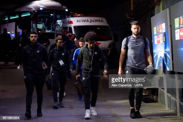 Chelsea FC players arrive to the stadium ahead of the UEFA Champions League Round of 16 Second Leg match between FC Barcelona and Chelsea FC at Camp...